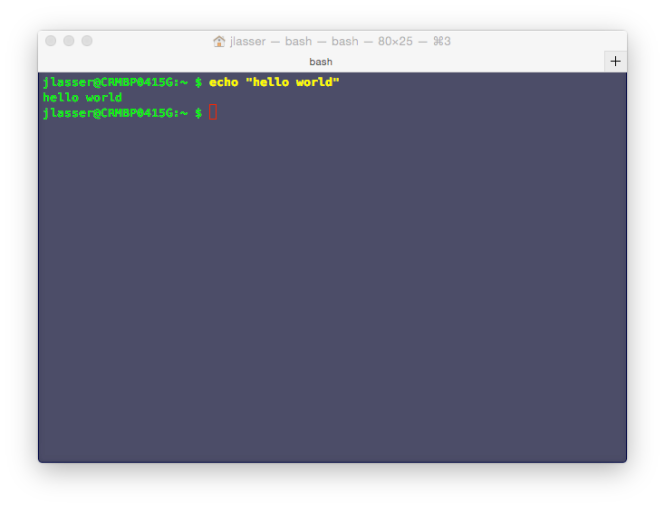 Hello World in the Unix shell, in color